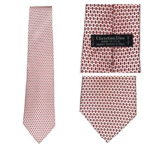 Ivory & Red Oval Dots Christian Dior Silk Tie